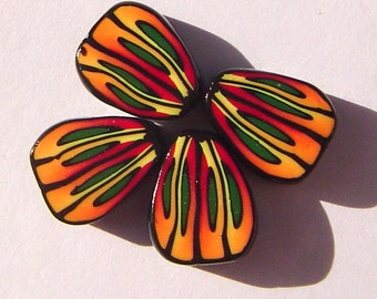 Orange Green Yellow Butterfly Wing Handmade Artisan Polymer Clay Beads