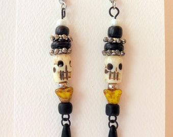 Earrings Dangle Earrings Skull and Flower Earrings #010