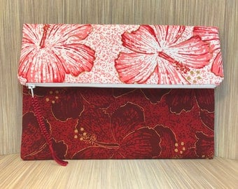 UNIQUE CLUTCH PURSE, Red floral clutch purse, Shaheen fabric, foldover clutch, evening bag, envelope clutch, fabric clutch, zipper clutch