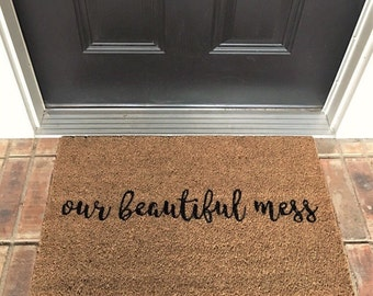 Our Beautiful Mess. Natural CoCo Fiber Modern Tagged Outdoor Welcome Mat Custom doormat