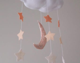 Baby Mobile - Cloud moon and stars nursery decoration in peach and white