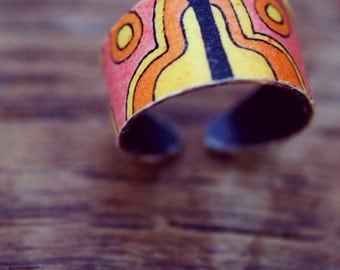 Vintage Twinkle Decoupaged Heirloom Adjustable Austin Powers Ring (01)