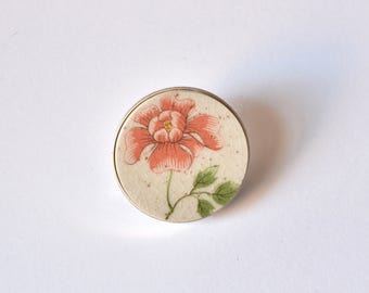 Recycled China Simple Circle Brooch - Pink and Green Flower - Scarf Pin