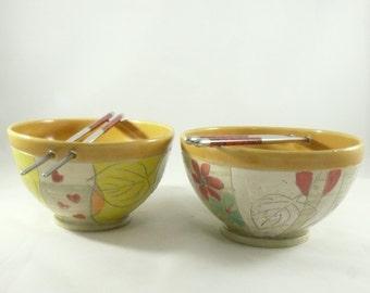 Chopstick Bowl, Pho Noodle Bowl, japanese Bowl, Asian Decor,  Rice Bowl, Vietnamese Soup Bowl, Miso Bowl, Fiesta Color Dinnerware