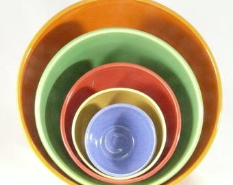 Fiesta Color Ceramic Nesting Bowl Set, Five Stacking Bowls, Ceramic and Pottery, Wedding Gift, Large Serving Bowls, Anniversary Gift