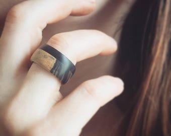 Gabon and Black and White Ebony ring