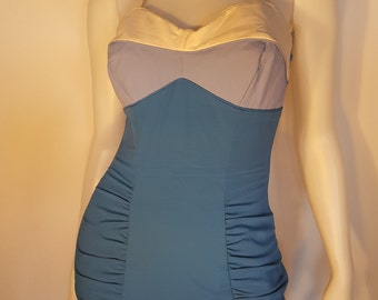 """60s Catalina Blue Gradient Colorblock Stretchy Acrylic One-Piece Swimsuit 
