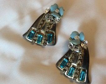 Vintage 1980s silver, Rhinestone and ceramic flower earrings