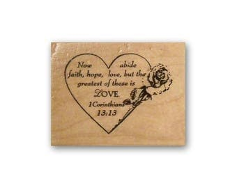 1 Corinthians 13:13 mounted rubber stamp, faith hope and love Christian bible verse, scripture, Valentine, anniversary, wedding, Crazy Mt #3