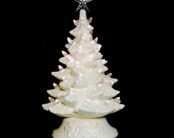 Winter White Ceramic Christmas Tree 11 1/2 Inch Clear Lights and Star Holiday Wedding Centerpiece Anniversary Celebration - Made to Order