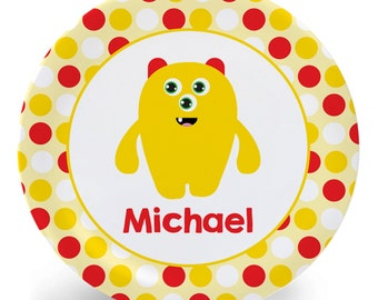 Monster Plate - Child's Plate - Yellow Monster Melamine Bowl or Plate Custom Personalized with Childs Name