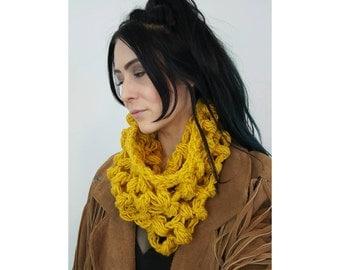 Sunshine Yellow Crochet Cowl Scarf - Ecofriendly Recycled Knit Circle Scarf - Handmade Wool Yarn Fall Autumn Winter Eco Friendly Neckwarmer
