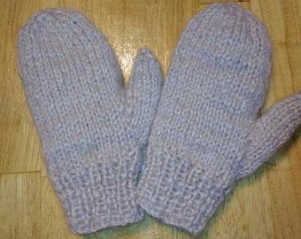 Handspun/Handknit Wool Stuffed/Thrummed Mittens W/Mohair