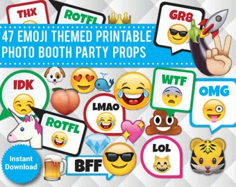 47 Emoji Printable Photo Booth Props, Funny Party Props, Sweet 16, Omg, Lol, Kids Party, photo booth signs, speech bubbles