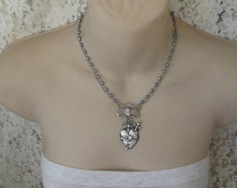 Custom Listing, Sacred Heart, religious necklace, freshwater pearls