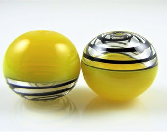 Translucent Yellow and Black Glass Swirl Hollow Lampwork Bead Pairs