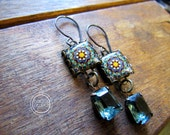 Moroccan tile design earrings, Bohemian jewelry, Moroccan Pottery design, drop earrings, long earrings, Green and blue