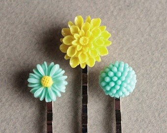 Silver Bobby Pins - Flowers - Mint Green & Yellow