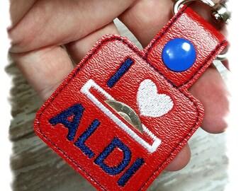 Aldi Quarter Keeper//Coin Holder//Quarter Keychain//Coin Pouch//Red Vinyl