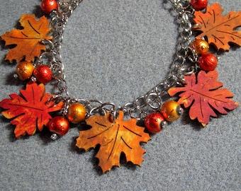 Autumn Leaves Maple Oak Handmade Wooden Beaded Adjustable Charm Bracelet 2B