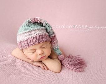 Aurora - Tassel Stocking Hat pink rose blue gray pastel girl newborn baby cap