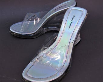 Vintage 90's Clear Heel Shoes Size 8 Wedge Block Iridescent Delicious Pumps Open Toe Sandal
