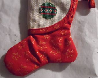 Cross Stitched Ornament Christmas Stocking
