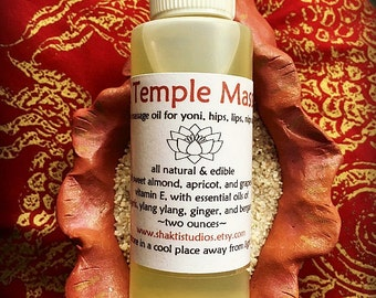 TANTRA TEMPLE Sensual Massage Oil vegan all natural breast and body oil / 2 ounce bottle