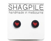 4 Colours Available! Super Cute Heart Stud Earrings - Blue, Red, Green + Yellow - Valentine Earrings - Handmade in Melbourne