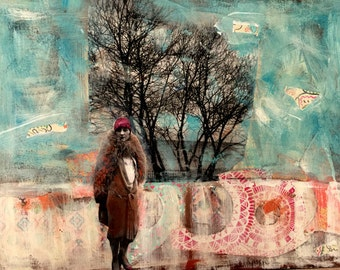 vintage woman in trees  original mixed media painting