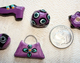 Set of 5 Assorted BAGLADY Artisan Porcelain Clay Beads in Purple, Black & Turquoise