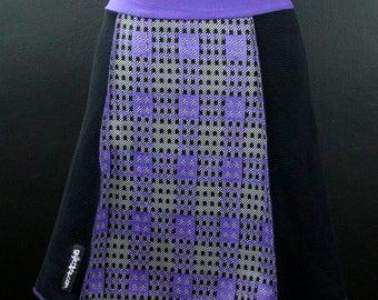 Geometric Purple + Black + White  A-Line Skirt   Multiple Sizes
