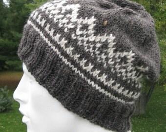 Hand Knit Fair Isle Hat for Men or Women, Gray Alpaca Wool Hat, Warm Knit Hat, Winter Beanie, Ski Hat, SnowBoard Hat, Mans Beanie