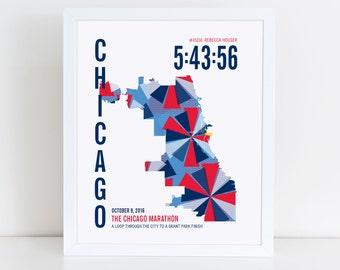Personalized Chicago Marathoner Map