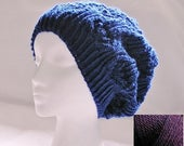Slouchy Hat, Womens Lacy Beret, Hand Knitted Cap, Slouchy Beanie