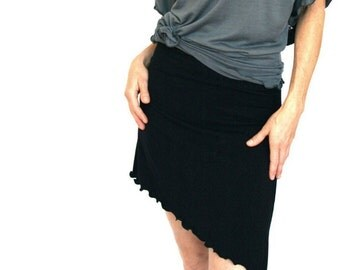 ASYMMETRICAL SKIRT  short skirt, cotton skirt, black skirt, women's skirt, asymmetrical hem skirt, custom clothes, handmade clothing, soft