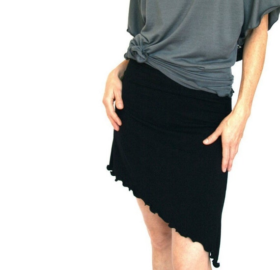 ASYMMETRICAL SKIRT  short skirt, cotton skirt, black skirt, women's skirt, asymmetrical hem skirt, custom clothes, handmade clothing, soft