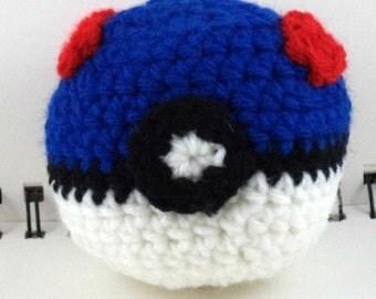 Crocheted Monster Catching Ball - Blue (medium)