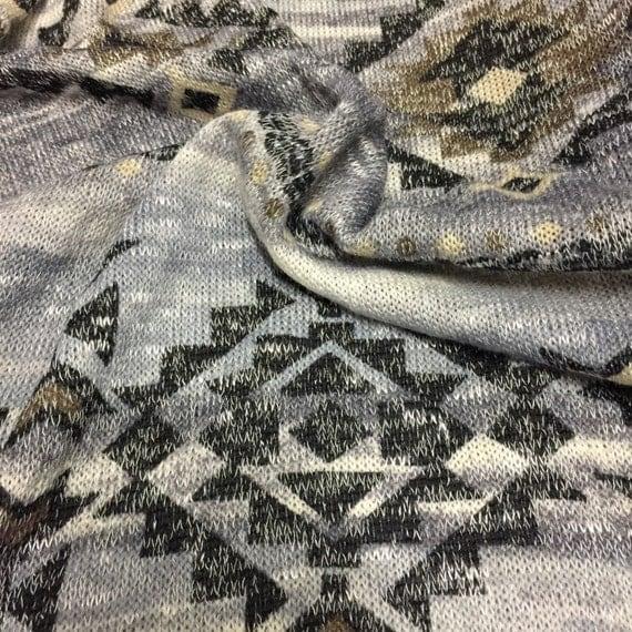 Pattern Knit Fabric : Sweater Knit Fabric Tribal Pattern 1 Yard