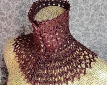 Mauve Plum Lace Crochet Choker Victorian Mourning Steampunk Gothic Victorian Noir