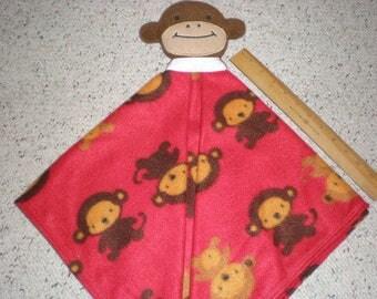 Fleece Monkey Baby Security Lovey Blanket