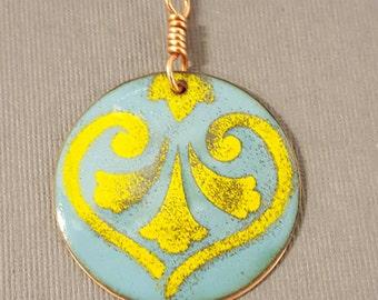 Enameled Marine and Goldenrod Heart Circle Pendant
