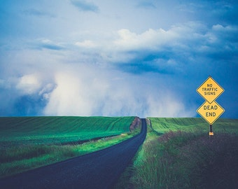 Palouse Photography, Thunderstorm Photo, Road Sign, Dead End, Eastern Washington, Rural Landscape, Agriculture, Storm photos, Farm Road