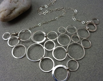 Small Molecule: Sterling Silver Modern Circles Bubbles Bib Style Necklace