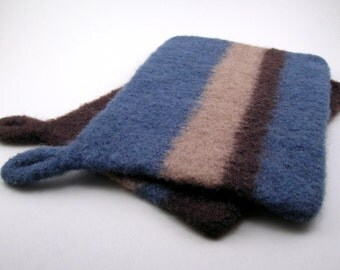 Felted wool potholders - wool hot pads - pot holder set - brown, steel blue and almond