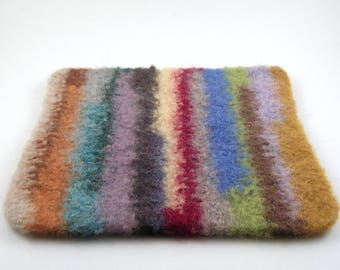 Wool felted trivet - striped hot pad - felted wool - multicolored