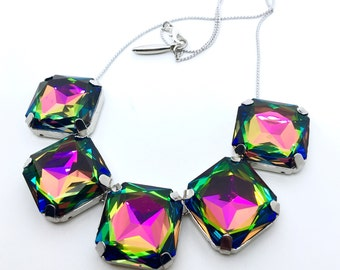 Rainbow Square Crystal Necklace - Available With Swarovski Crystals & Silver or Gold Hardware - Volcano Vitrail Medium Sparklies