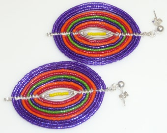 Treme earrings - silver plated ovals, seed beads, non-tarnish artistic wire, sterling links and posts