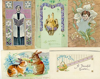 Lot of (10) Vintage Antique EASTER Colorful Postcards Group Circa 1910 Vintage Cards  3894