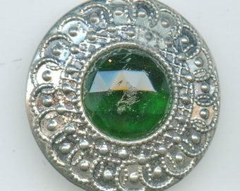 Green Victorian Button Jewel  Huge Antique Victorian Silver Metal Emerald circa 1900 Button 1 1/2 inch size 3525